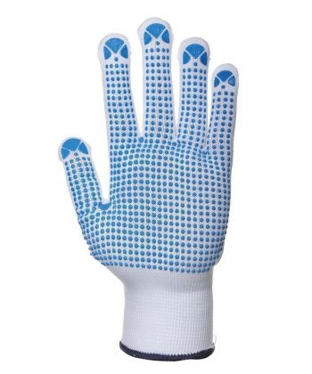 Portwest Nylon Polka Dot Glove A110 Blue and White Colour Palm View