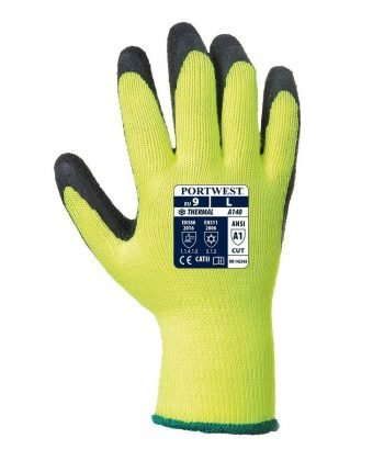 PPG Workwear Portwest Thermal Grip Glove A140 Yellow and Black Colour Back View