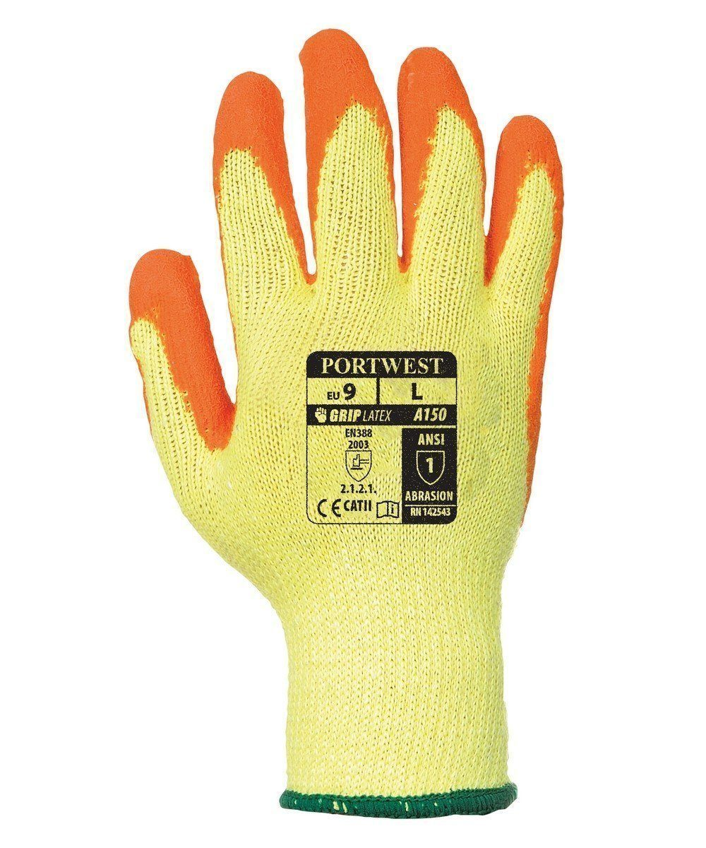 PPG Workwear Portwest Fortis Grip Glove A150 Orange and Yellow Colour Back View