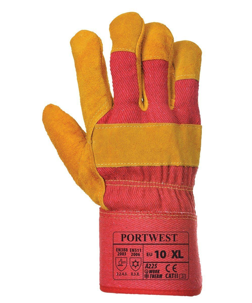 Portwest Vostok Lined Rigger Glove A225 Tan and Red Colour Back View