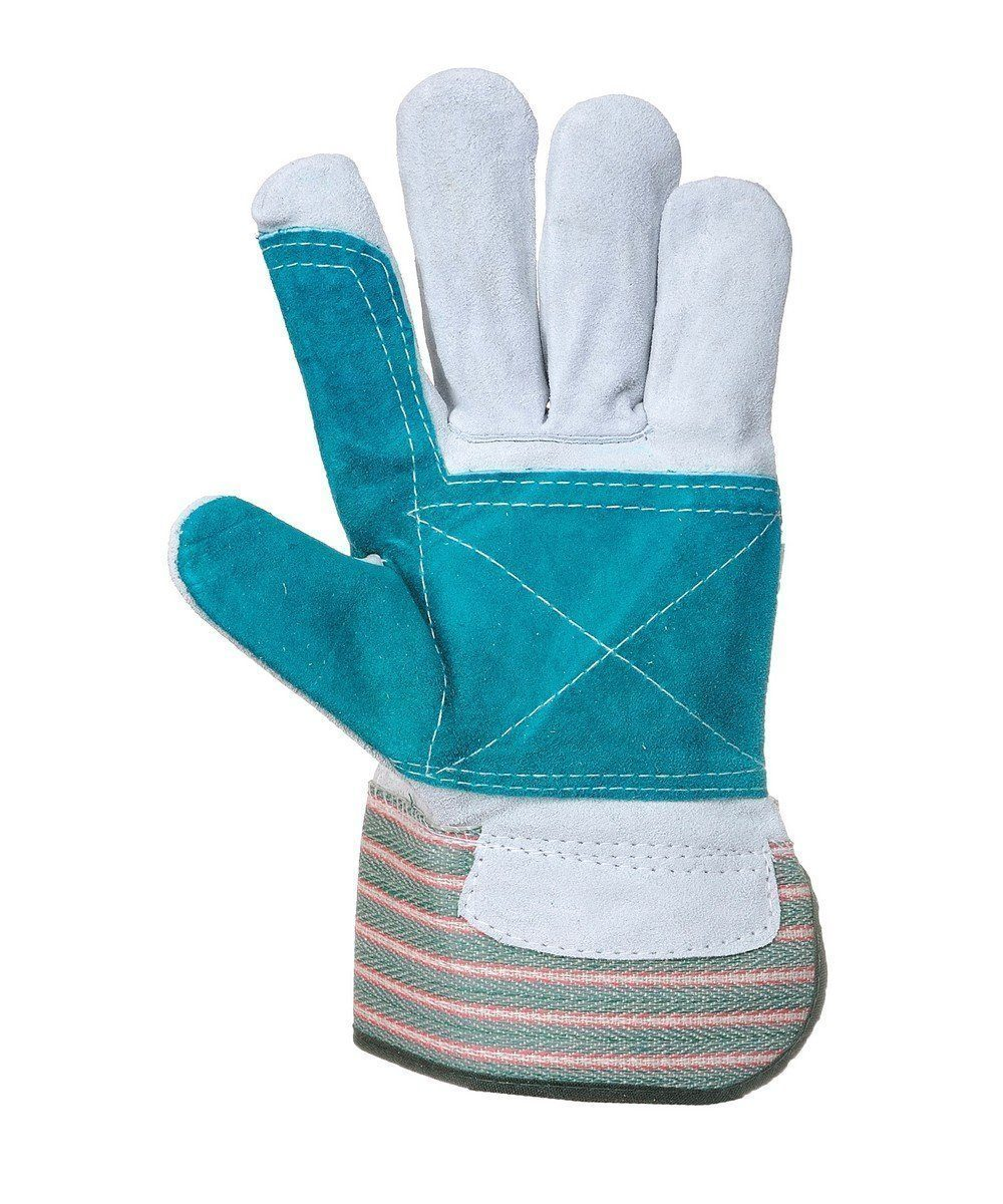 Portwest Double Palm Rigger Glove A230 Grey and Green Colour Palm View