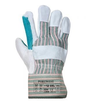 Portwest Double Palm Rigger Glove A230 Grey and Green Colour Back View
