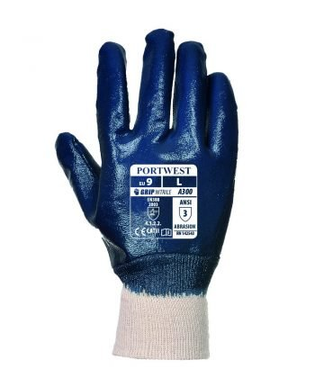 Portwest Nitrile Knitwrist Glove A300 Navy Blue Colour Back View