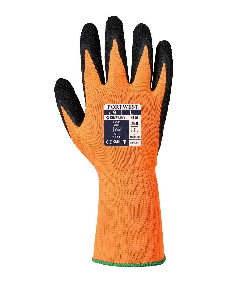 PPG Workwear Portwest Hi Vis Grip Glove A340 Orange and Black Colour Back View