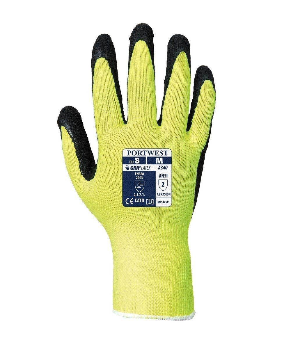 PPG Workwear Portwest Hi Vis Grip Glove A340 Yellow and Black Colour Back View