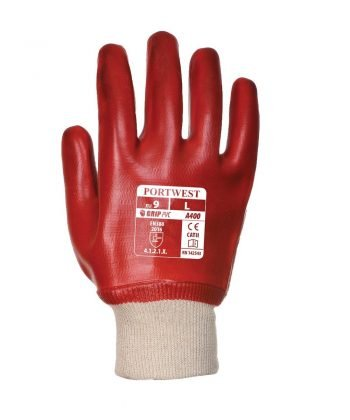 PPG Workwear Portwest PVC Knitwrist Glove A400 Red Colour Back View