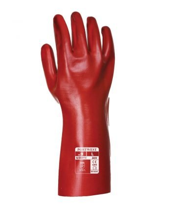 PPG Workwear Portwest PVC Coated 35cm Gauntlet A435 Red Colour Back View