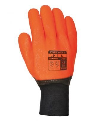 Portwest Weatherproof Hi Vis Glove A450 Orange and Black Colour Back View