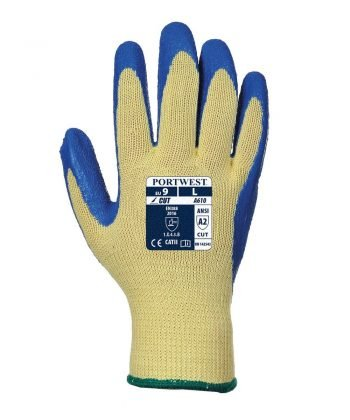 PPG Workwear Portwest Cut Level 3 Latex Grip Glove A610 Blue and Yellow Colour Back View