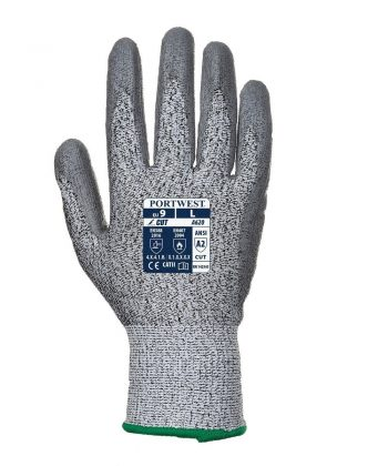 Portwest Cut Level 3 PU Palm Glove A620 Grey Colour Back Veiw