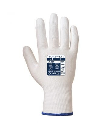 Portwest Cut Level 3 PU Palm Glove A620 White Colour Back View