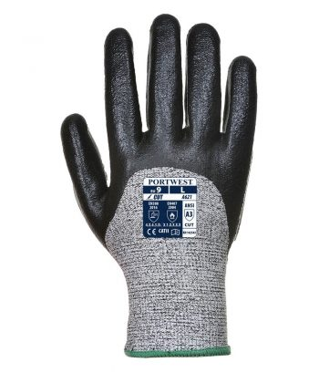 PPG Workwear Portwest Cut Level 5 3/4 Nitrile Foam Glove A621 Black Colour Back View