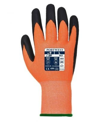 PPG Workwear Portwest Vis-Tex Cut Level 5 Glove A625 Orange and Black Colour Back View