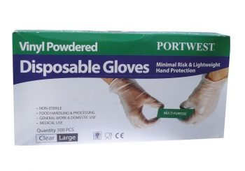 Portwest Powdered Vinyl Disposable Glove A900 Box of One Hundred Gloves Clear Colour