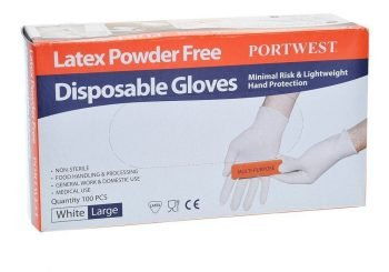 Portwest Powder Free Latex Disposable Glove A915 Box of One Hundred Gloves White Colour
