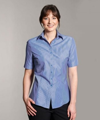 Disley Womens Business Stripe Blouse Dark Blue Colour Short Sleeve