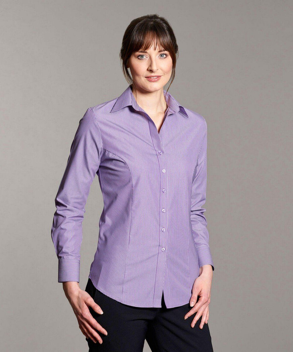 PPG Workwear Disley Womens Business Stripe Blouse Purple Colour Long Sleeve