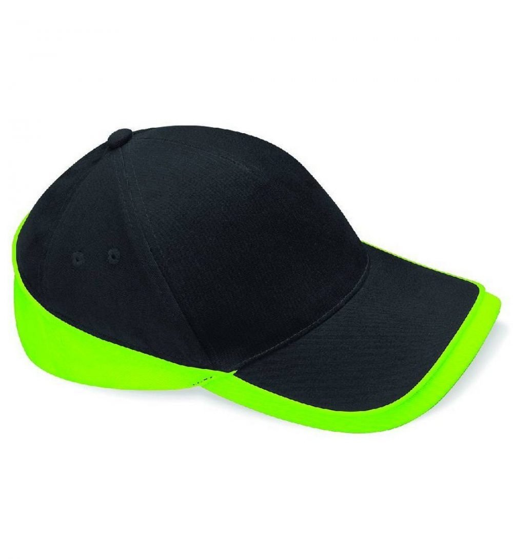 Beechfield Teamwear Competition Cap B171 Black and Lime Colour