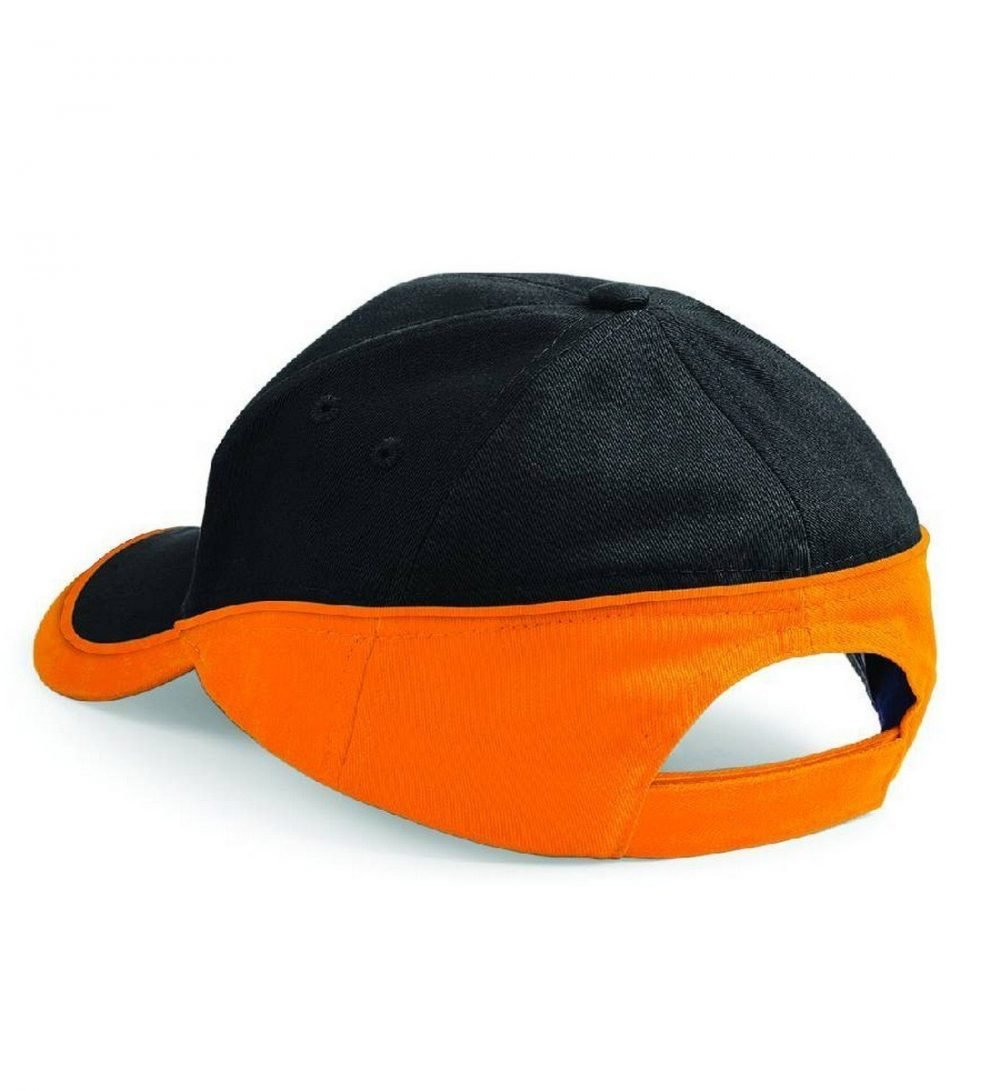 PPG Workwear Beechfield Teamwear Competition Cap B171 Black and Orange Colour Back View
