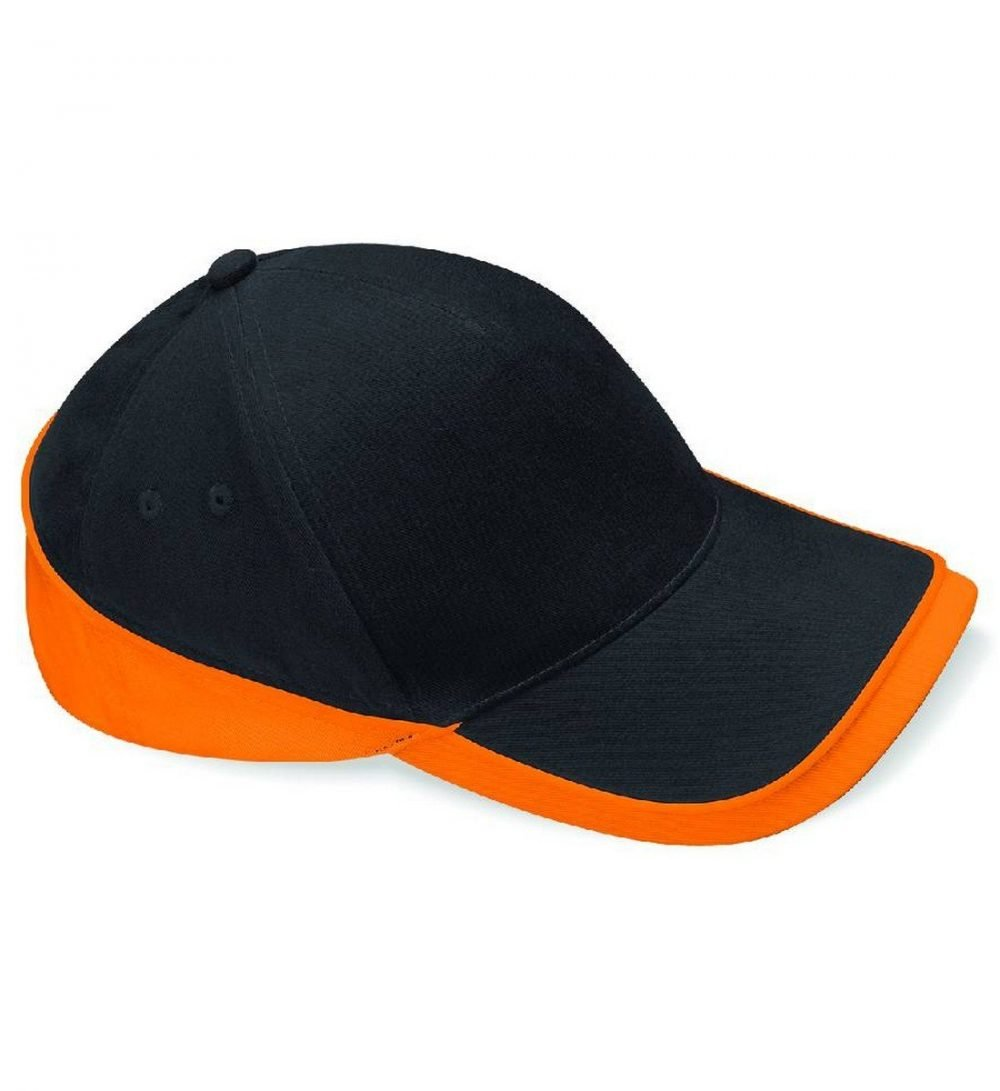 PPG Workwear Beechfield Teamwear Competition Cap B171 Black and Orange Colour Front View
