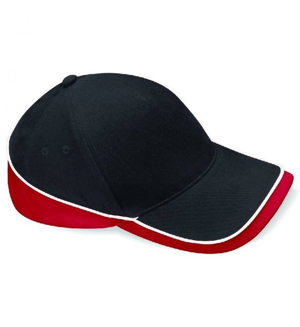 Beechfield Teamwear Competition Cap B171 Black White and Red Colour