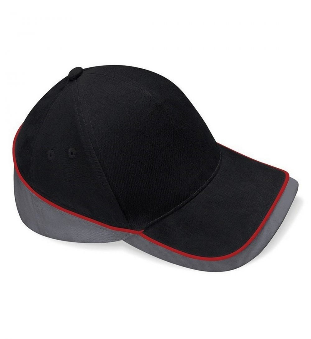 Beechfield Teamwear Competition Cap Black Graphite and Red Colour
