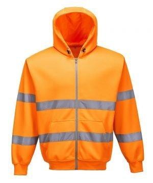 Portwest Hi Vis Orange Colour Zip Front Hooded Sweatshirt B305