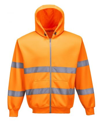 Portwest Hi Vis Orange Colour Zip Front Hooded Sweatshirt B305
