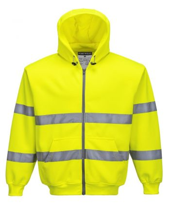 PPG Workwear Portwest Hi Vis Yellow Colour Zip Front Hooded Sweatshirt B305