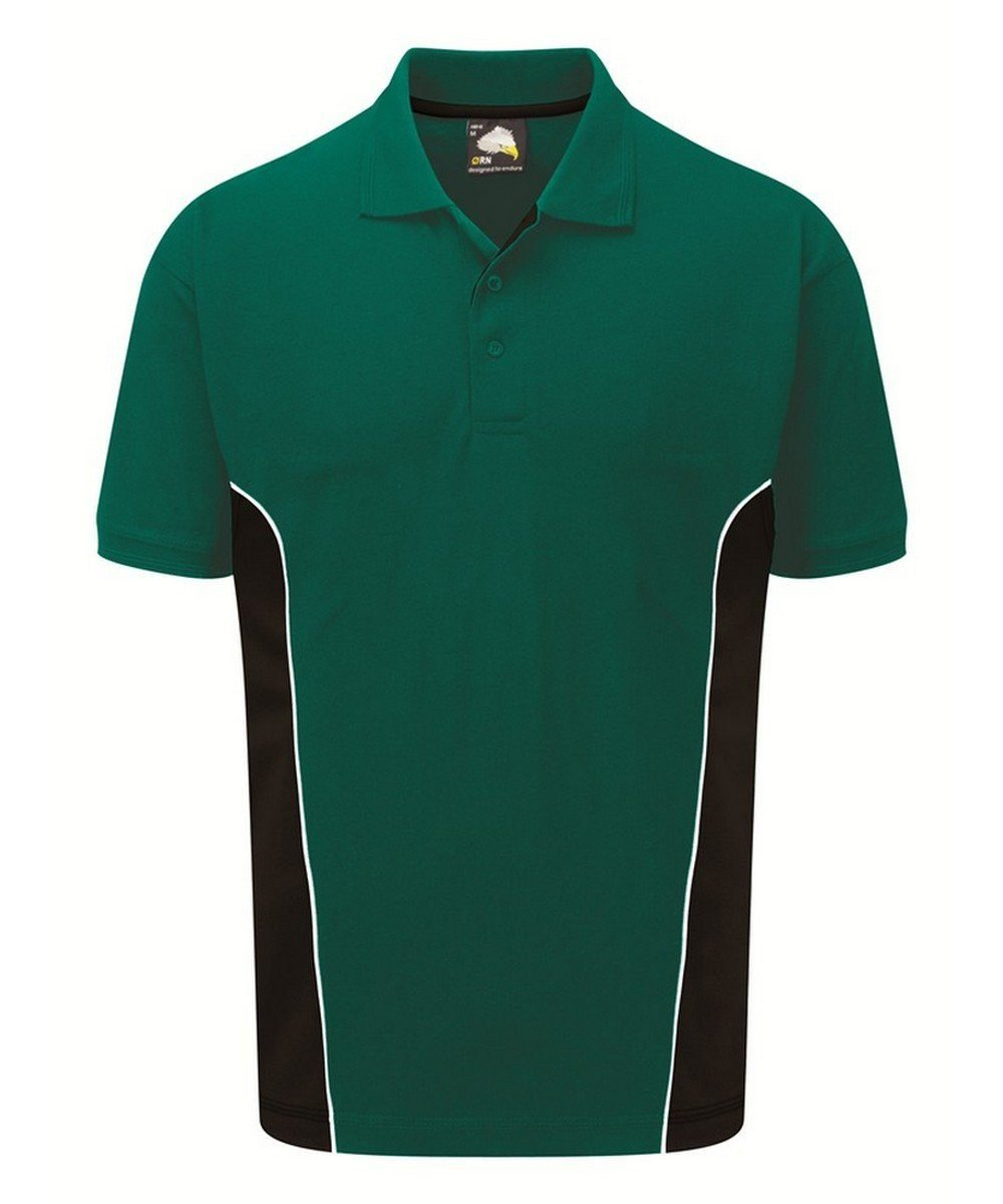 Orn Silverstone Two Tone Premium Polo Shirt 1180 Bottle Green and Black Colour