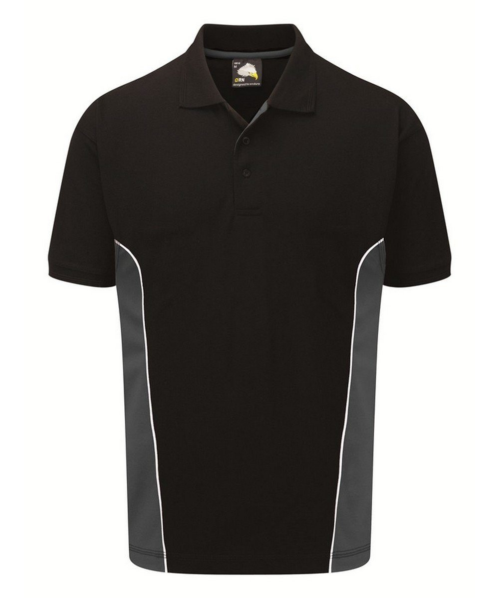 Orn Silverstone Two Tone Premium Polo Shirt 1180 Black and Graphite Colour