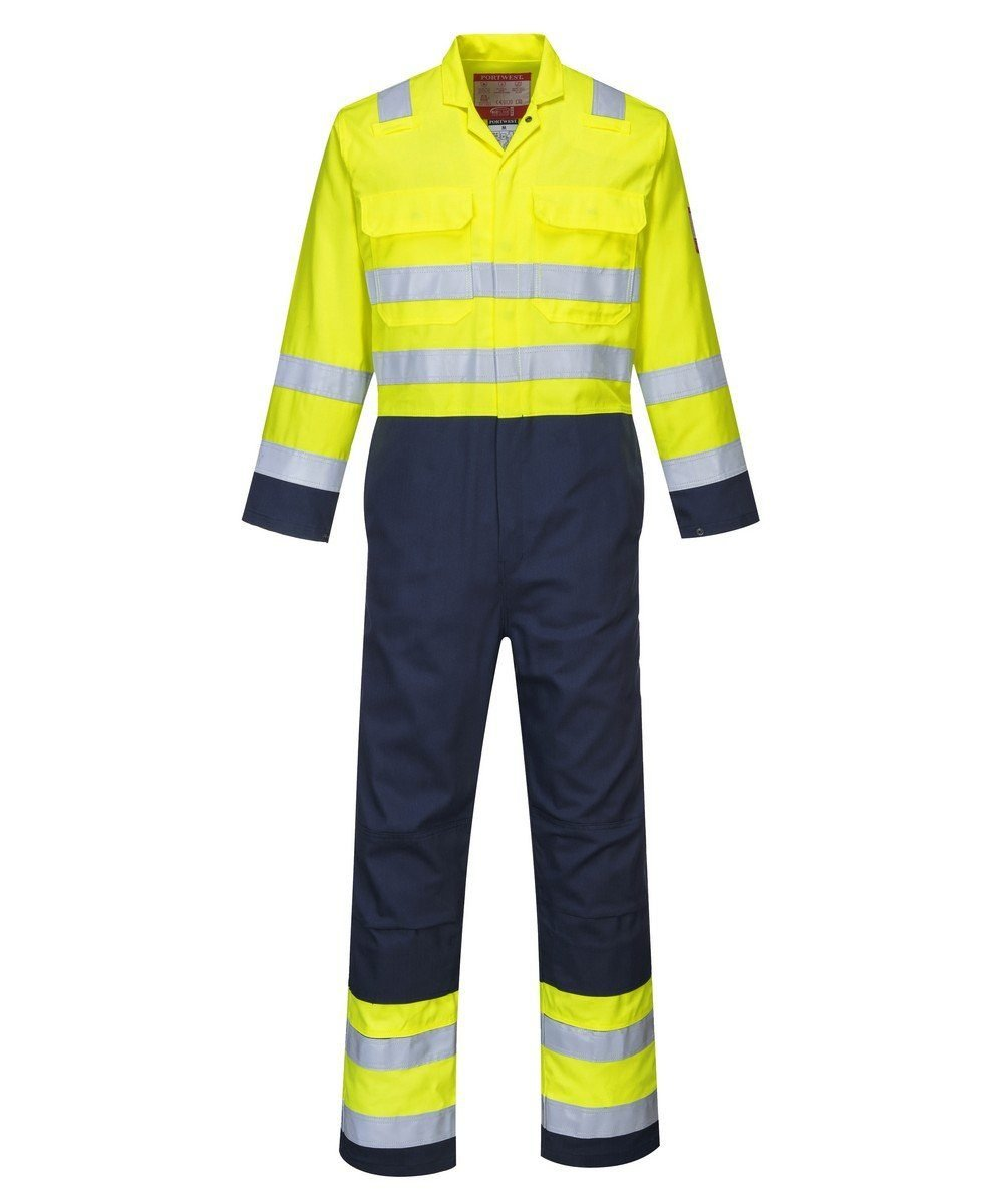 PPG Workwear Portwest Bizweld FR Hi Vis Anti-Static Coverall BIZ7 Yellow and Navy Blue Colour