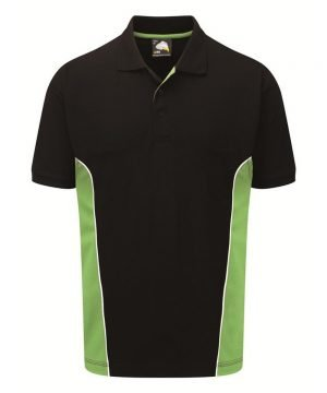 PPG Workwear Orn Silverstone Two Tone Premium Polo Shirt 1180 Black and Lime Colour