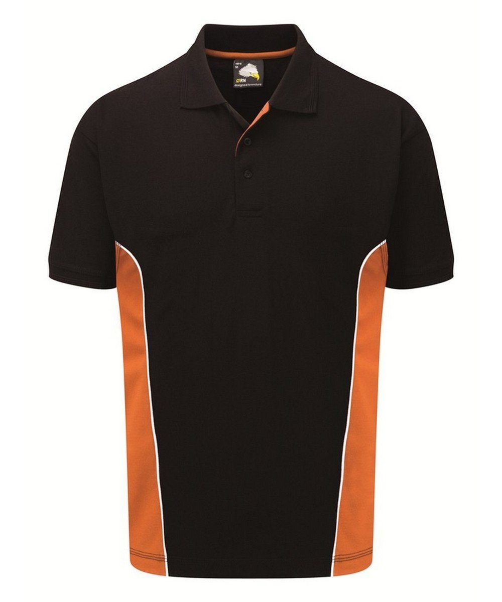 Orn Silverstone Two Tone Premium Polo Shirt 1180 Black and Orange Colour