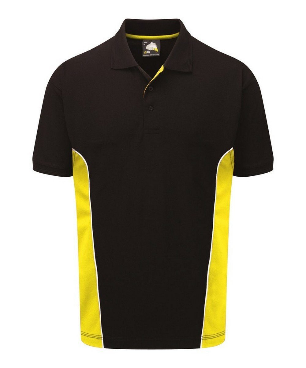 PPG Workwear Orn Silverstone Two Tone Premium Polo Shirt 1180 Black and Yellow Colour