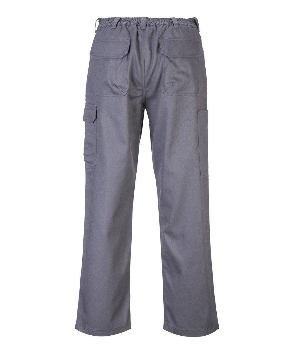 PPG Workwear Portwest Bizweld Flame Retardant Cargo Trousers BZ31 Rear View Grey Colour