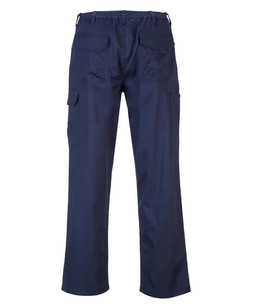 Portwest Bizweld Flame Retardant Cargo Trousers BZ31 Rear View Navy Blue Colour