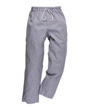 PPG Workwear Portwest Bromley Blue and White Check Chefs Trousers C079