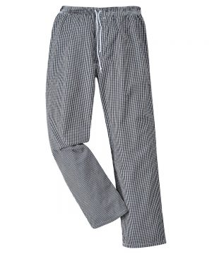 Portwest Bromley Black and White Check Chefs Trousers C079