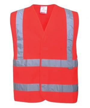 Portwest Hi Vis Red Colour Two Band Vest C470