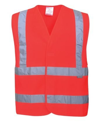 Portwest Hi Vis Red Colour Two Band Vest C470