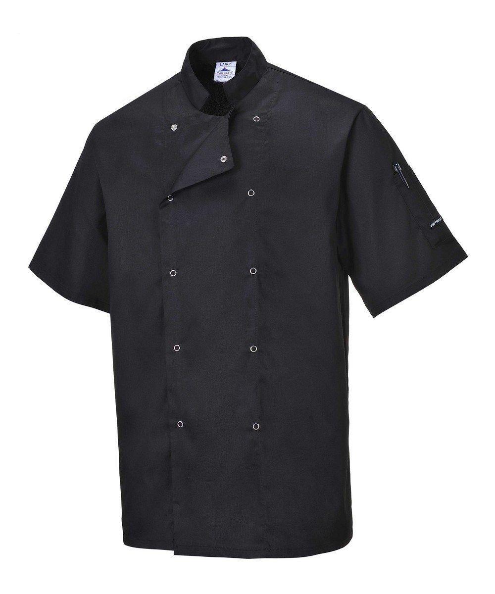 PPG Workwear Portwest Cumbria Black Chefs Jacket C733 Short Sleeves