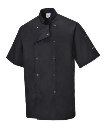 PPG Workwear Portwest Cumbria Black Chefs Jacket C733 Short Sleeves