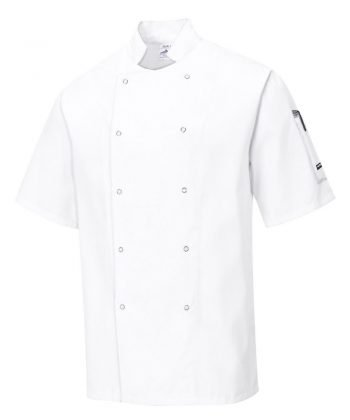 PPG Workwear Portwest Cumbria White Chefs Jacket C733 Short Sleeves