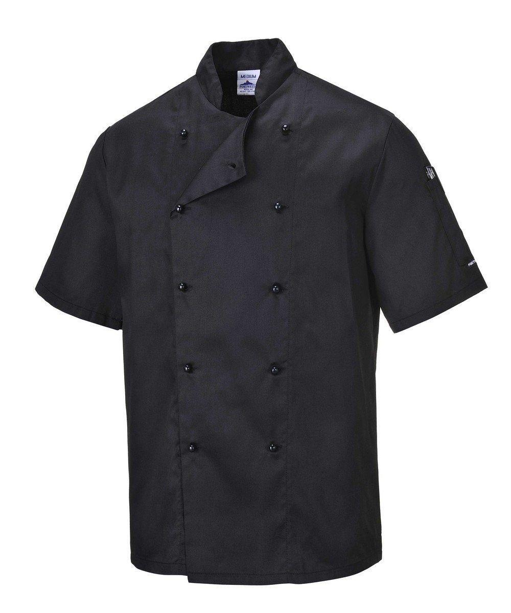 Portwest Kent Black Chefs Jacket C734 Short Sleeves
