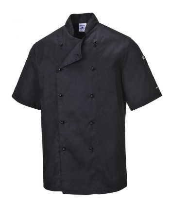 Portwest Kent Black Chefs Jacket C734 Short Sleeves