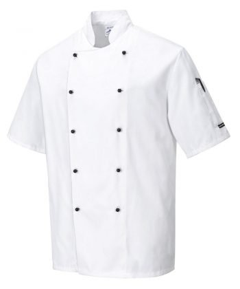 PPG Workwear Portwest Kent White Chefs Jacket C734 Short Sleeves