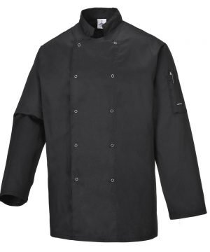 Portwest Suffolk Black Chefs Jacket C833 Long Sleeves