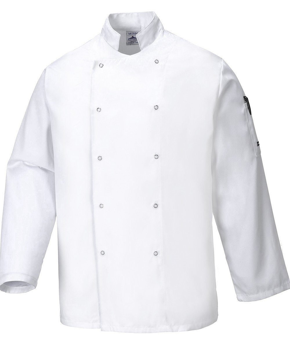 PPG Workwear Portwest Suffolk White Chefs Jacket C833 Long Sleeves
