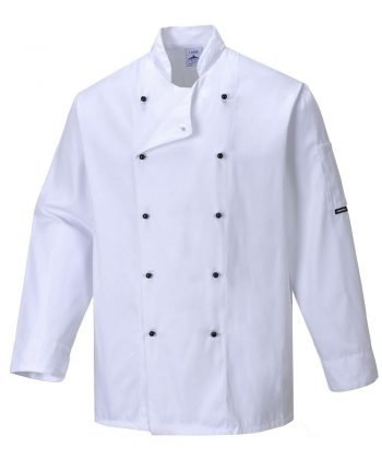 PPG Workwear Portwest Somerset White Chefs Jacket C834 Long Sleeves